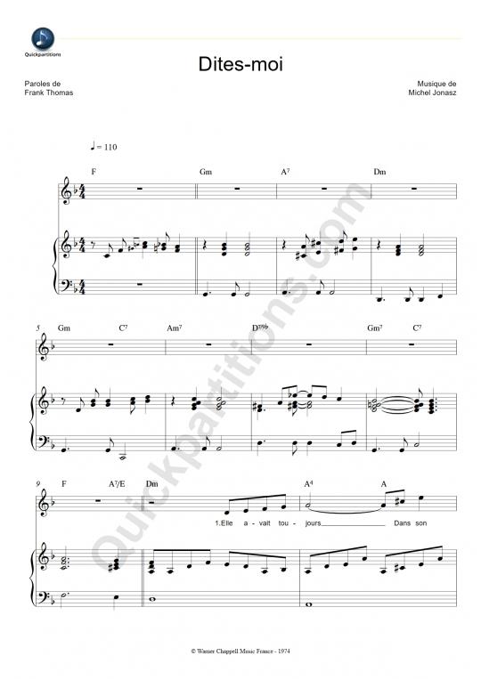 Partition piano Dites-moi - Michel Jonasz