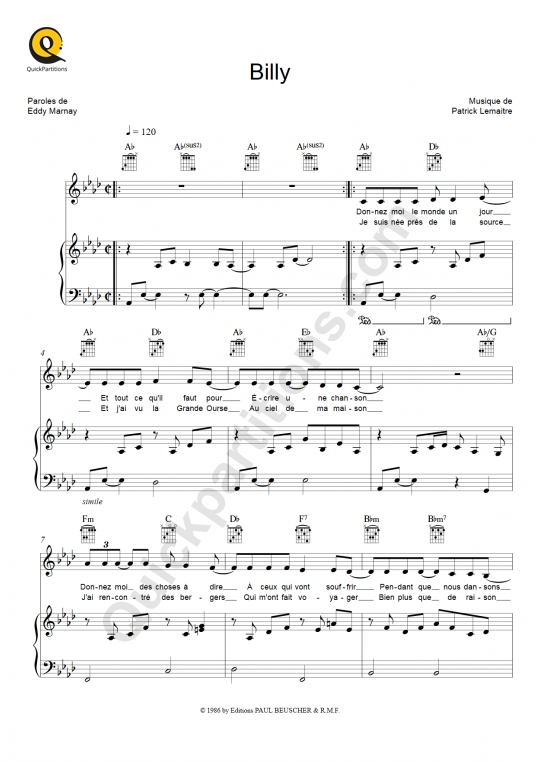 Bill Backer sheet music to download and print - World center