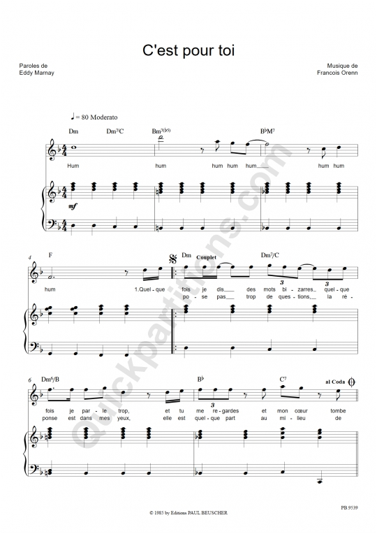 Partition piano C'est pour toi - Céline Dion