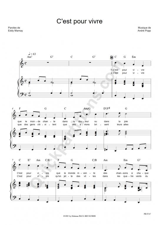 Partition piano C'est pour vivre - Céline Dion