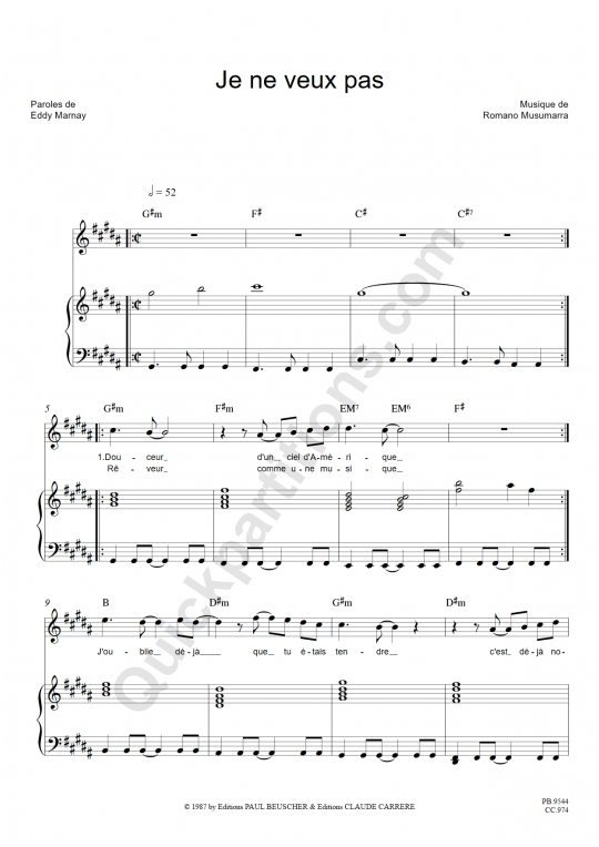 Partition piano Je ne veux pas - Céline Dion