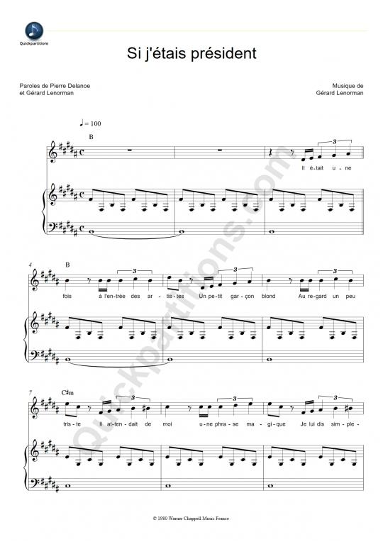 Partition piano Si j'étais Président - Gérard Lenorman