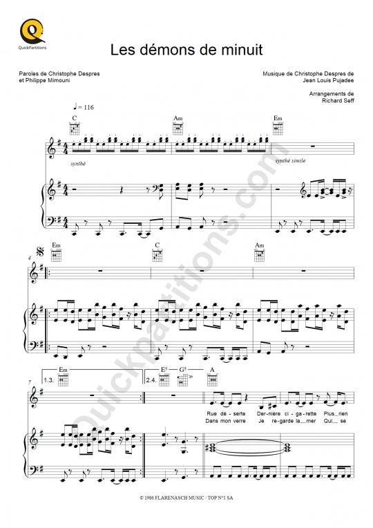 Partition piano Les démons de minuit - Images