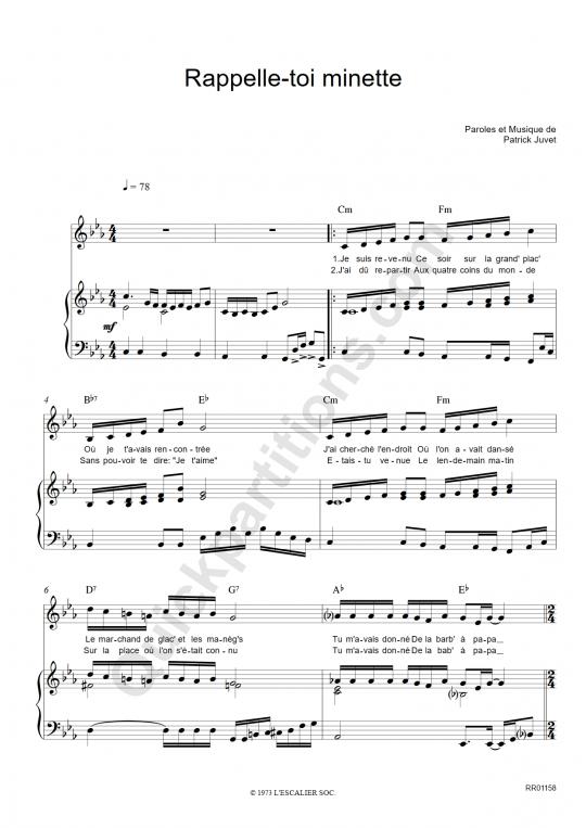 Rappelle toi minette Piano Sheet Music - Patrick Juvet