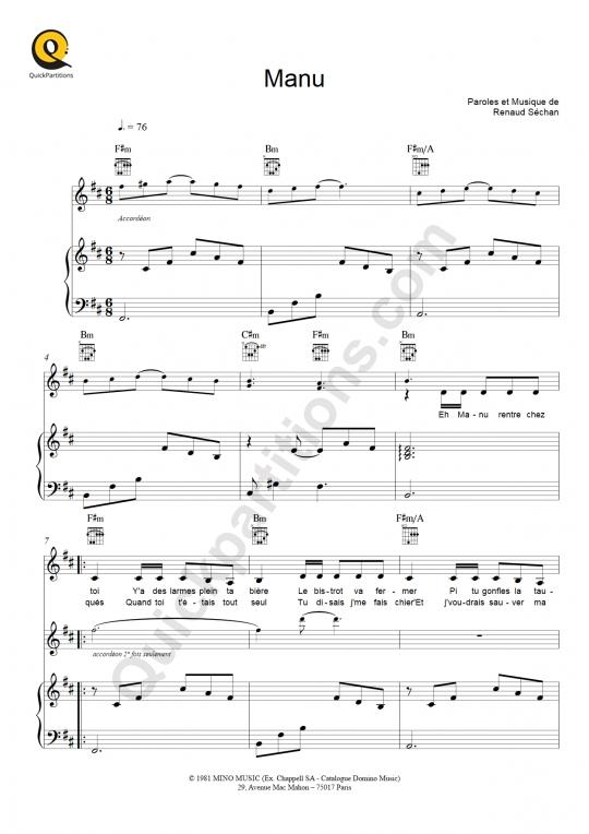 Manu Piano Sheet Music - Renaud