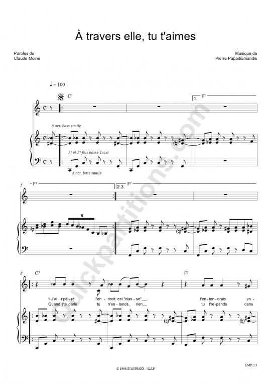 Partition piano A travers elle, tu t'aimes - Eddy Mitchell