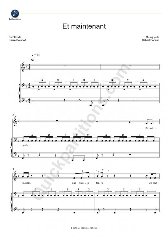 Et maintenant Piano Sheet Music - Gilbert Bécaud