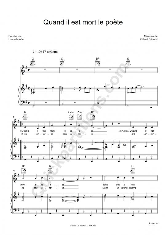Quand il est mort le poète Piano Sheet Music - Gilbert Bécaud
