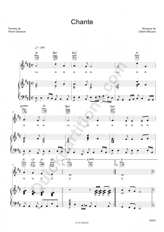 Partition piano Chante - Gilbert Bécaud
