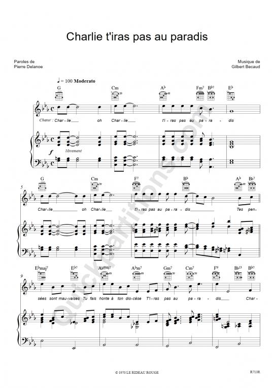 Charlie t'iras pas au paradis Piano Sheet Music - Gilbert Bécaud