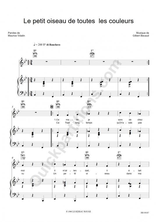 Le petit oiseau de toutes les couleurs Piano Sheet Music - Gilbert Bécaud