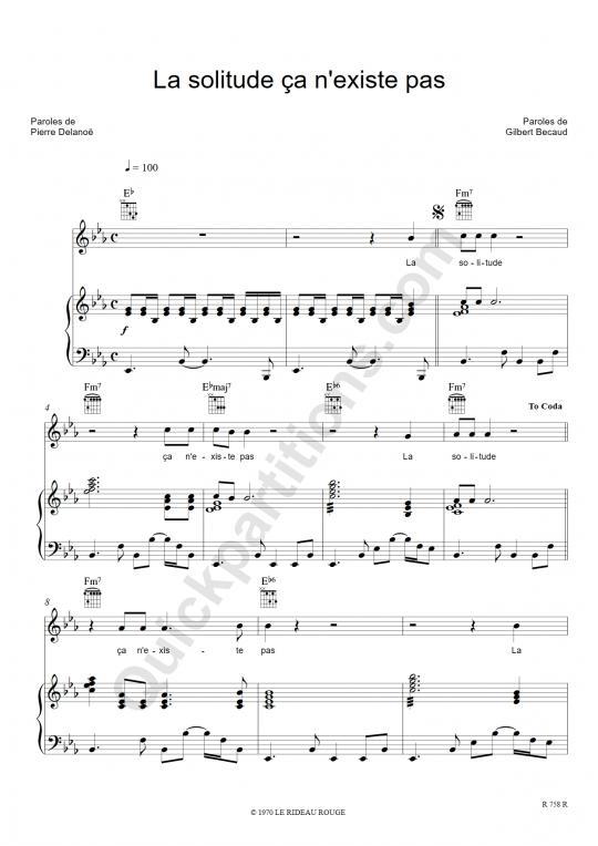La solitude ca n'existe pas Piano Sheet Music - Gilbert Bécaud