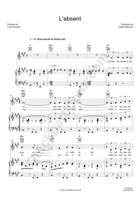L'absent Piano Sheet Music - Gilbert Bécaud