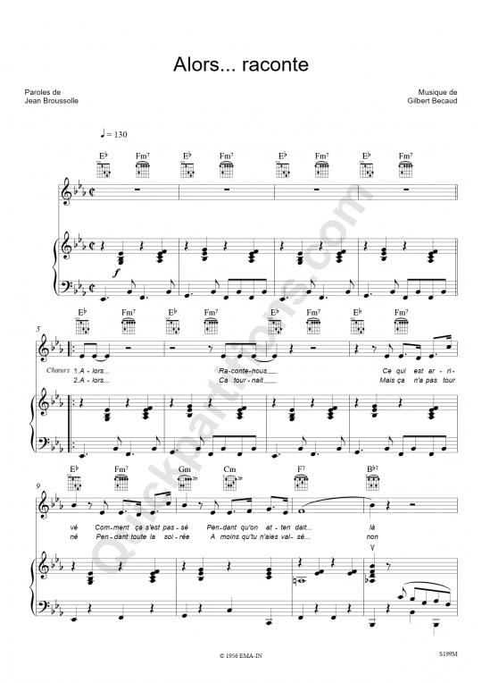 Alors... raconte Piano Sheet Music - Gilbert Bécaud