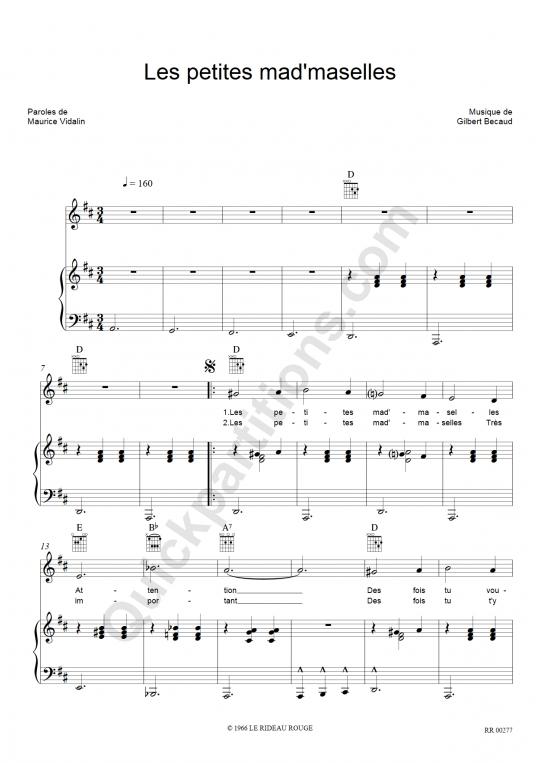 Les petites mad'maselles Piano Sheet Music - Gilbert Bécaud