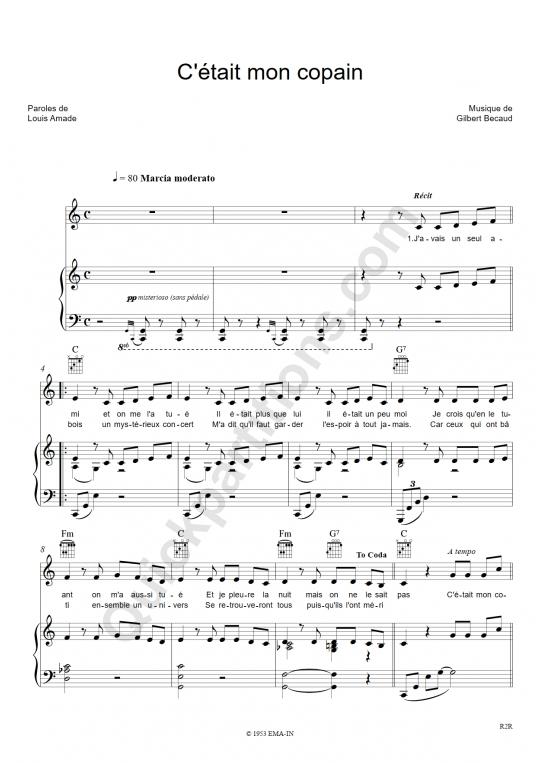 C'etait mon copain Piano Sheet Music - Gilbert Bécaud