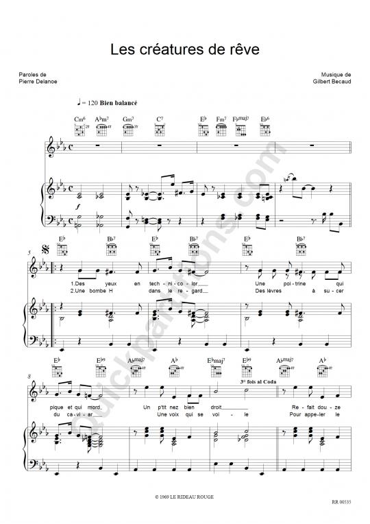 Les Créatures De Rêve Piano Sheet Music - Gilbert Bécaud