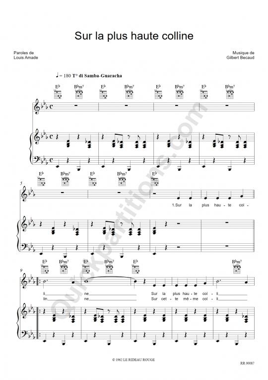 Sur la plus haute colline Piano Sheet Music - Gilbert Bécaud