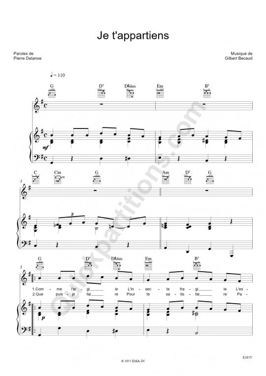 Je t'appartiens Piano Sheet Music - Gilbert Bécaud