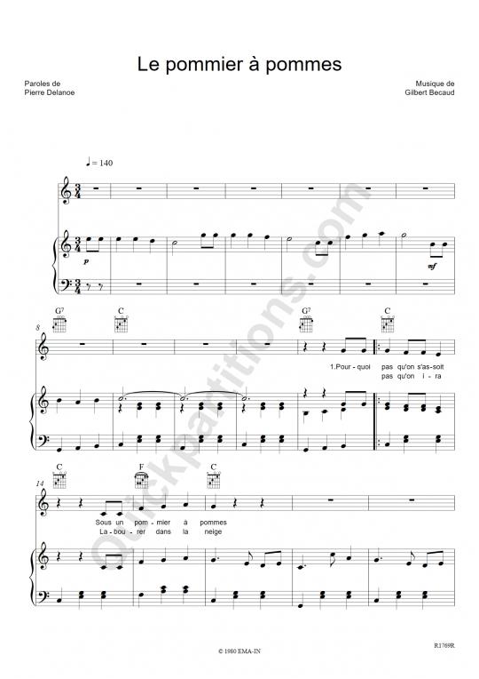 Le pommier à pommes Piano Sheet Music - Gilbert Bécaud