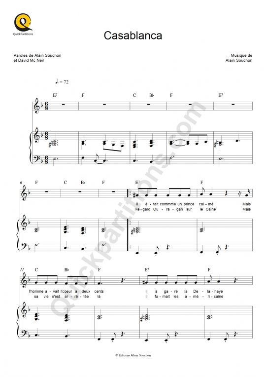 Casablanca Piano Sheet Music - Alain Souchon