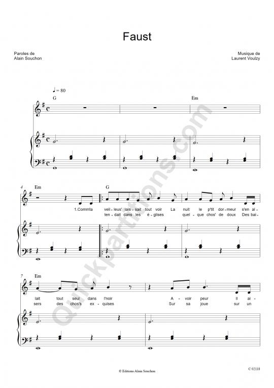 Faust Piano Sheet Music - Alain Souchon