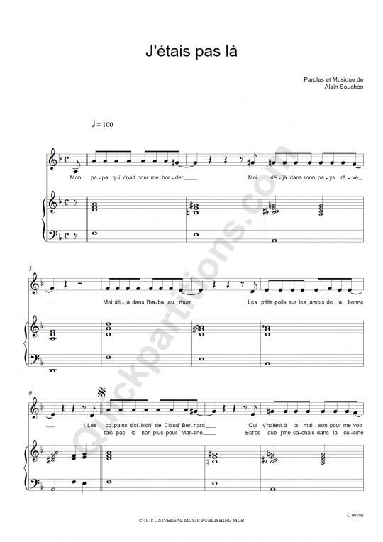 J'étais pas là Piano Sheet Music - Alain Souchon
