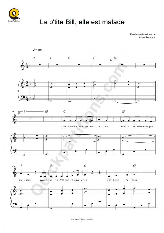 La petite Bill est malade Piano Sheet Music - Alain Souchon