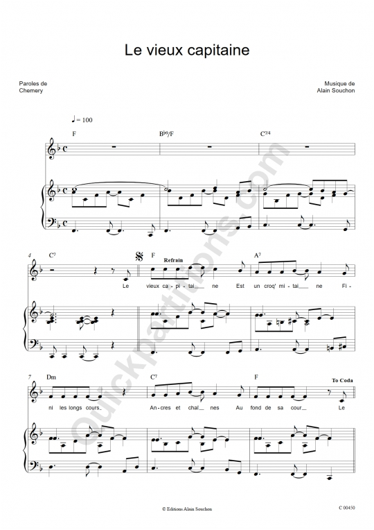 Le vieux capitaine Piano Sheet Music - Alain Souchon