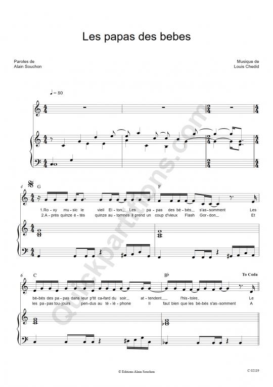 Les Papas Des Bebes Piano Sheet Music - Alain Souchon