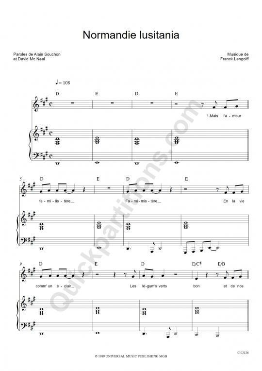 Normandie Lusitania Piano Sheet Music - Alain Souchon