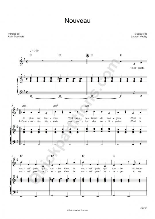 Nouveau Piano Sheet Music - Alain Souchon