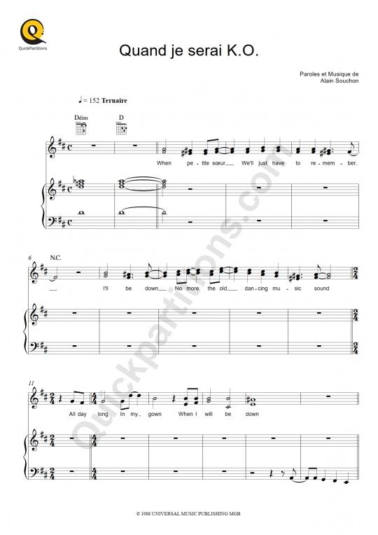 Partition piano Quand je serai K.O. - Alain Souchon