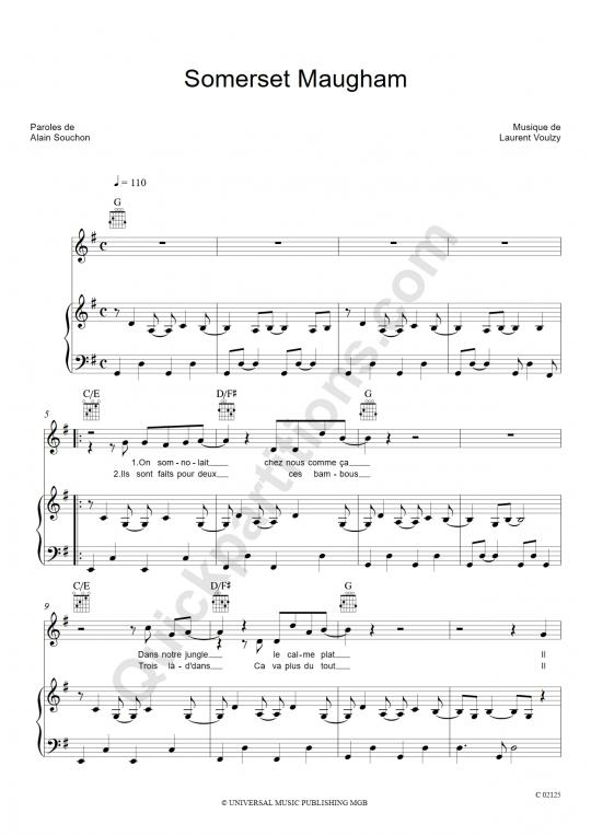 Somerset Maugham Piano Sheet Music - Alain Souchon
