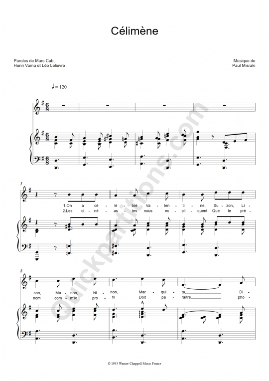 Partition piano Célimène - Ray Ventura