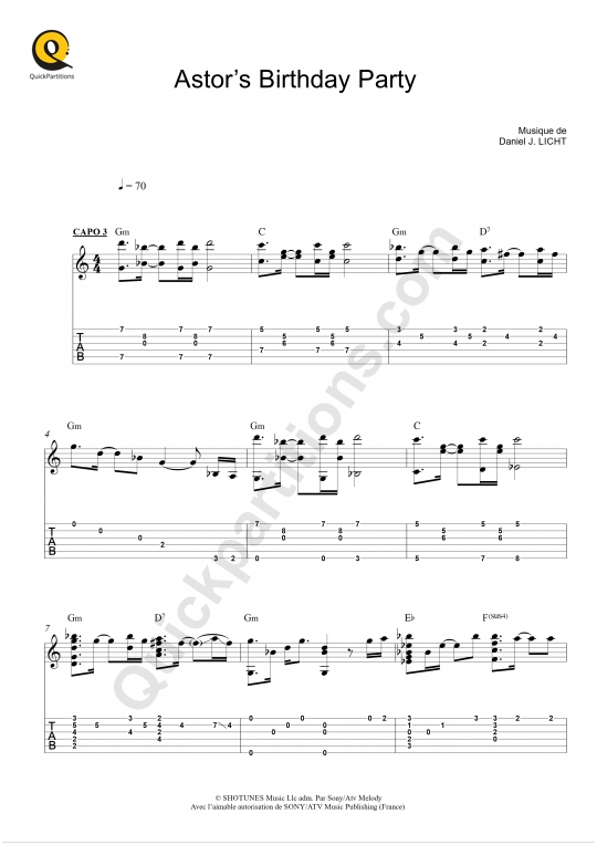Tablature Guitare Astor's Birthday Party (BO Dexter) - Daniel Licht