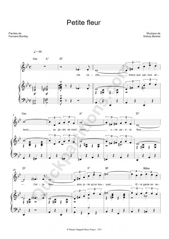 Partition piano Petite fleur - Mouloudji