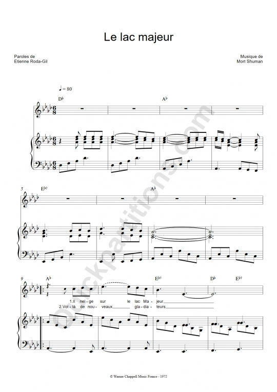 Partition piano Le lac majeur - Mort Shuman