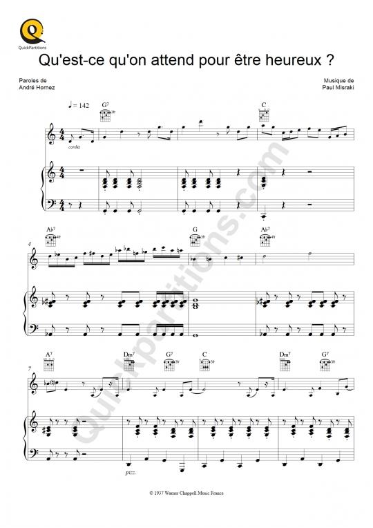Partition Piano Qu'est-ce Qu'on Attend Pour Etre Heureux - Ray Ventura