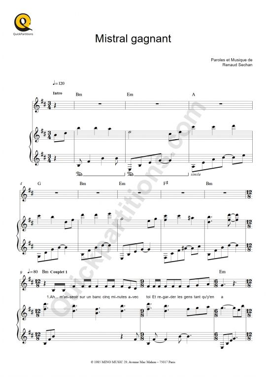 Mistral Gagnant Piano Sheet Music - Renaud