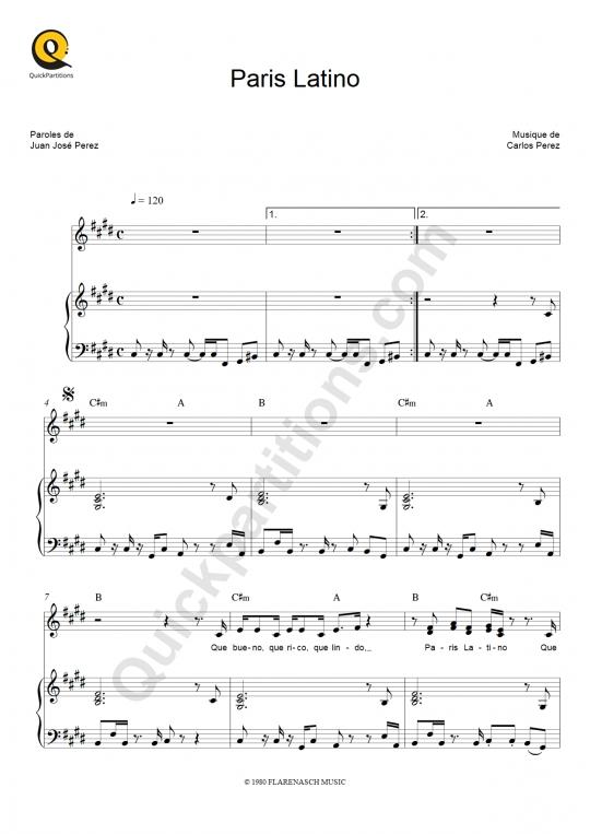 Partition piano Paris latino - Bandolero