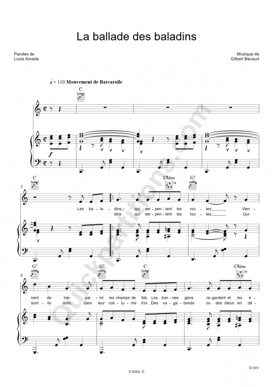 La ballade des baladins Piano Sheet Music - Gilbert Bécaud