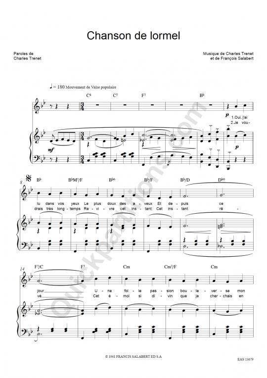Partition piano Chanson de lormel - Charles Trenet