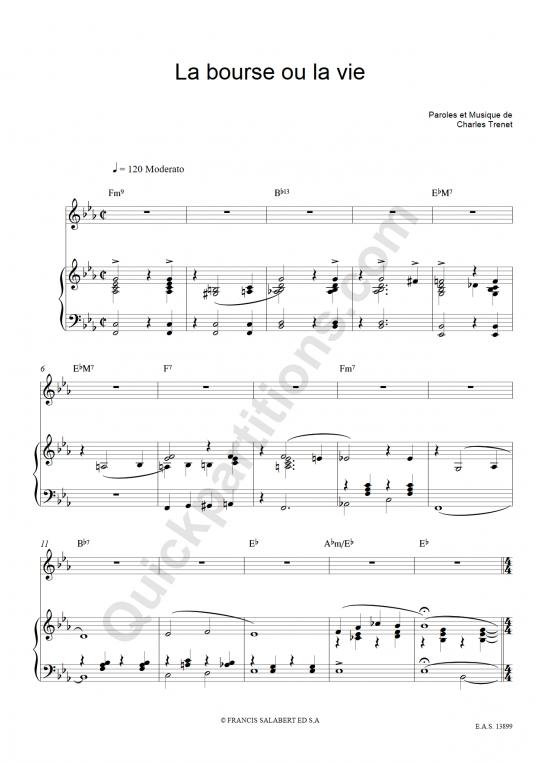La Bourse Ou La Vie Piano Sheet Music - Charles Trenet