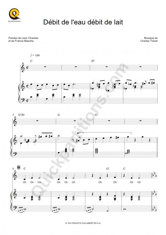 Partition piano Débit de l'eau débit de lait - Charles Trenet