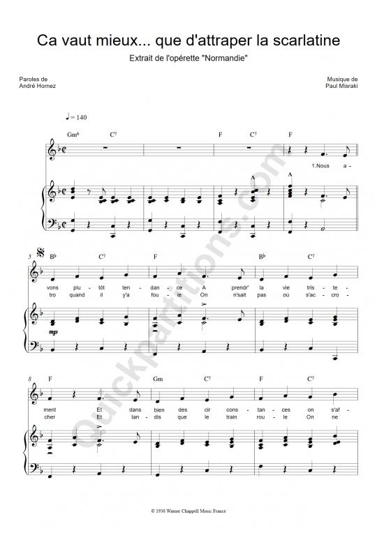 Partition piano Ca vaut mieux que d'attrapper la scarlatine - Ray Ventura