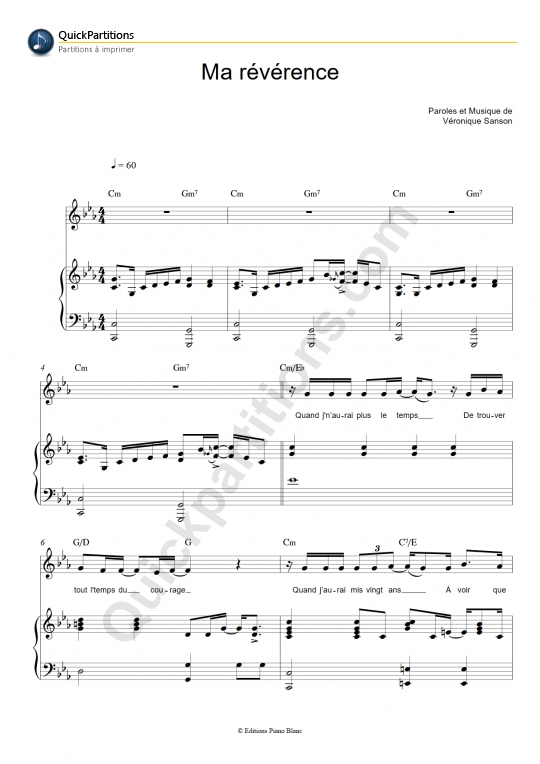 partition musique veronique sanson