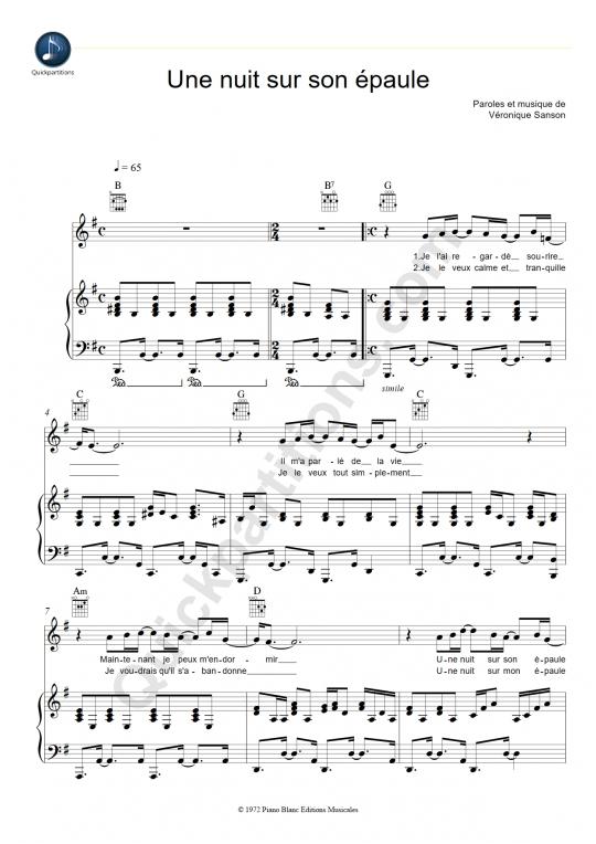 Partition piano Une nuit sur son épaule - Véronique Sanson