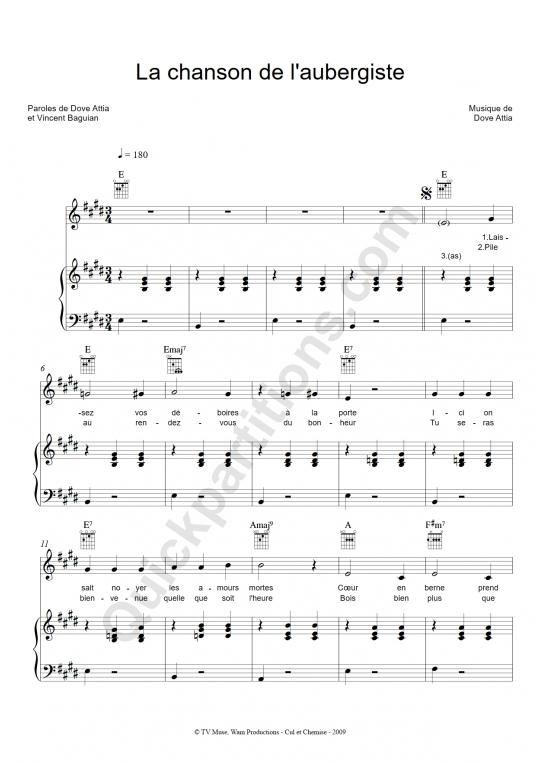 La chanson de l'aubergiste Piano Sheet Music - Mozart L'opéra rock