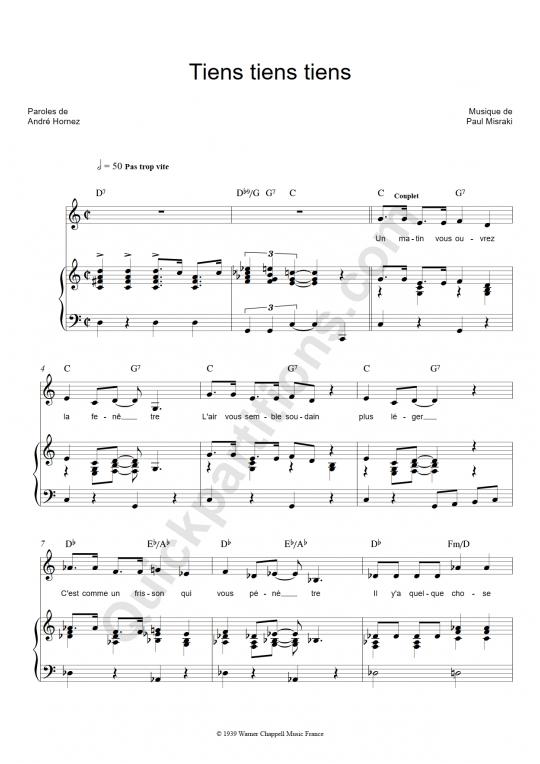 Partition piano Tiens tiens tiens - Ray Ventura